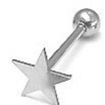 Stainless Steel Star Tongue Ring Barbell