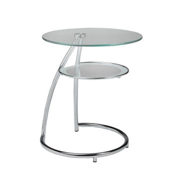 Pastel Hatfield Round Glass End Table in Chrome