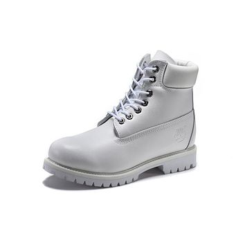 Timberland 10061 Leather Lace-Up Boot Men Women Shoes White