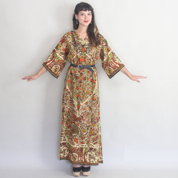 70s WILD BEASTS Caftan | Vintage 1970s ETHNIC Novelty Print Cotton Maxi Dress | s/m