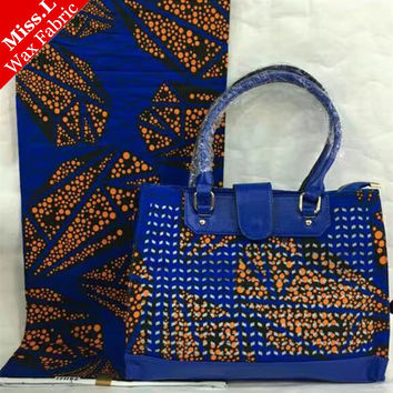 New design!100% cotton 6 yards dutch wax with fashion women handbag for party/ African bag set