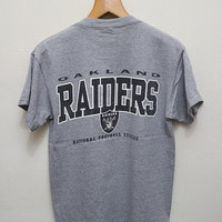 Vintage RAIDERS Oakland National Football League T Shirt Gray Color Size M
