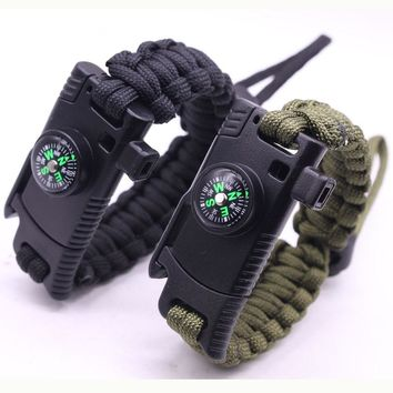 Outdoor Survival Bracelet for Men Women Braided Paracord Camping Hiking Rescue Emergency Rope Bangles Compass Whistle Knife 4in1
