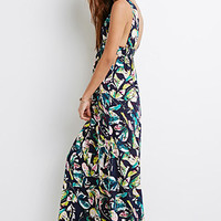 Tropical V-Cut Maxi Dress