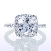 Cushion Cut Halo Diamond Engagement Wedding Ring
