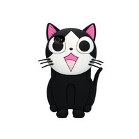 3D Cat Silicone Soft Back Cover Case for Apple iPhone 4 G 4S Black