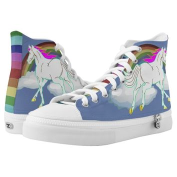 Rainbows and Stars Horse Fantasy High-Top Sneakers