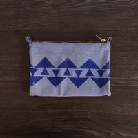 Foldover Clutch Purse Hand Printed Chambray Bag, Tribal Vegan Purse