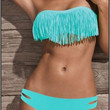 Sexy Women's Padded boho fringe dolly Blue bikini Swimwear bathing suit