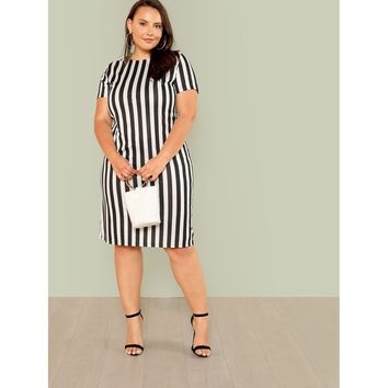 Plus Striped Print Pencil Dress