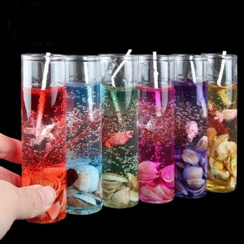 Glass Bottles Ocean Gel Wax Candles Wedding Banquet Candle Celebration Pink Blue Candle Decorate Birthday Candles