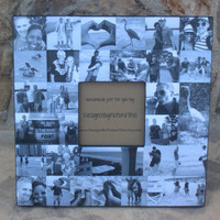 """Unique Engagement Gift, Personalized Picture Frame, Custom Collage Wedding Picture Frame, Parent's Thank You Gift, 12"""" X 12"""""""