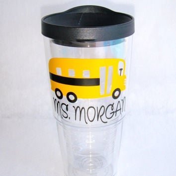 BacktoSchool Bus Tervis Tumbler by GameDayGirlsandGifts on Etsy
