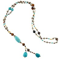 Blue Stones and Crystal Beaded Y Drop Long Necklace, 26 inches