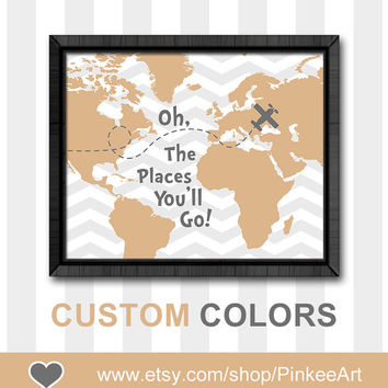 Motivational kids art oh the places youll go dr seuss nursery art boys room decor modern nursery gift ideas playroom sign map baby decor