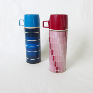 Vintage Thermoses Set of Two Blue Stripes Red by ItchforKitsch