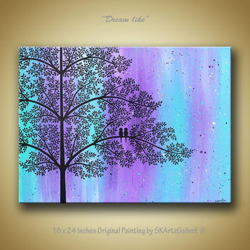 Love birds on tree landscape modern contemporary original acrylic painting on canvas dream like purple