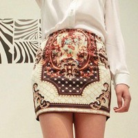 Vintage Picture Printed Straight Color Block Skirt White