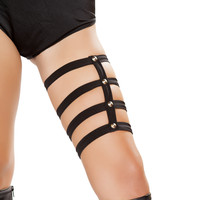 Black Rave Leg Studded Harness