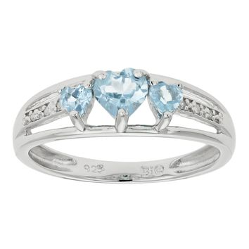 .50 Ct Triple Heart Sky Blue Aquamarine .018 cttw Diamond 10K White Gold Ring