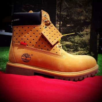 Timberland Rhubarb Boots x Supreme Yellow For Women Men Shoes Waterproof Martin Boots