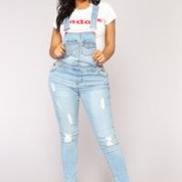 Small Town Girl Denim Overalls - Light Blue Wash