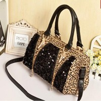 Cool Leopard Shiny Sparking Handbag Shoulder Bag