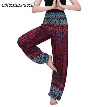 CHRLEISURE Women High Waist Printed Beach Boho Pants Fashion Harem Pants Women Plus Size Loose Bohemian Pant Summer Trousers