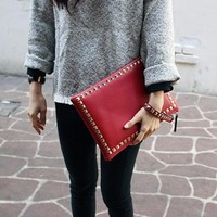 Red Studded Large Leather Clutch. Gold Studs Genuine Leather Wristlet Leather Clutch Bag. Casual Punk Chic Weekend Bag Leather Handbag