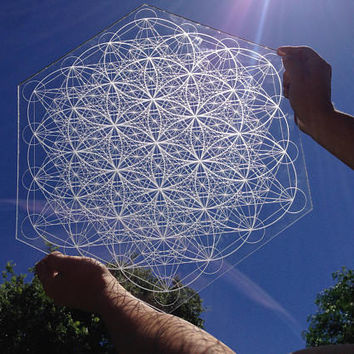 Metatron's Cube Flower Of Life Pattern Laser Cut Crystal Grid Artwork