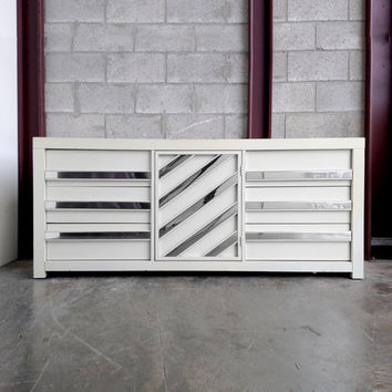 Vintage White Lacquered & Chrome Dresser Credenza Chest