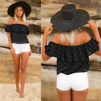 Off Shoulder Chiffon Blouse Polka Dot