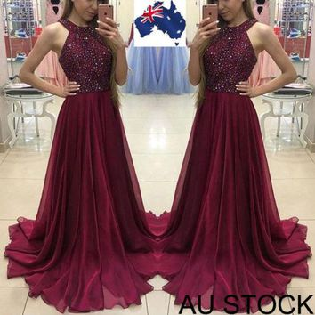 Sexy Women halter sleeveless Formal Wedding Long Evening Party Prom Gown Dress