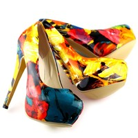 Show Story Multi-Colour Floral Print Stiletto Platform High Heels Pumps,LF40502