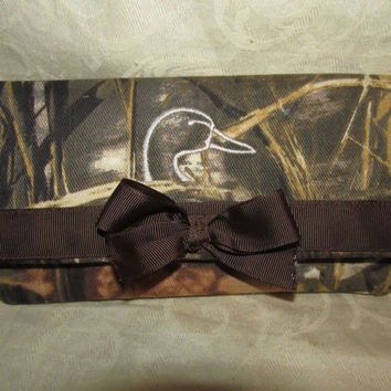 custom handmade max 4hd camo camouflage fabric wallet/ soft wallet ducks unlimited inspired