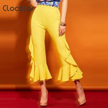 Clocolor Women Pants High Waisted Plain Flare Pants