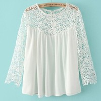 ABC New Summer Women Fashion Casual Lace Shirts Chiffon Blouses T-shirt Tops