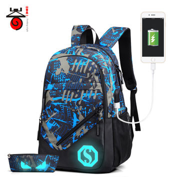 New Design USB Charging Men's Backpacks Ma Student School Bags Laptop