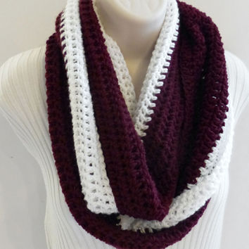 Infinity Scarf maroon burgundy and white, NFL inspired, hockey, football, Soccer, Sports Team Colors circle scarf, Unisex Scarf, Men's Scarf