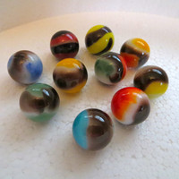 Vitro Agate Marbles Vintage Marbles Blackie  Marble King  Glass Marble