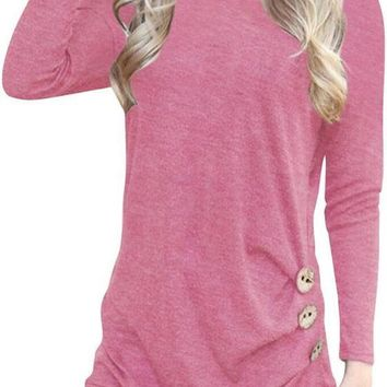 Pink Draped Buttons Round Neck Long Sleeve T-Shirt