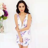 Rose Sky Bloom Playsuit- Purple {Boutique Collection}