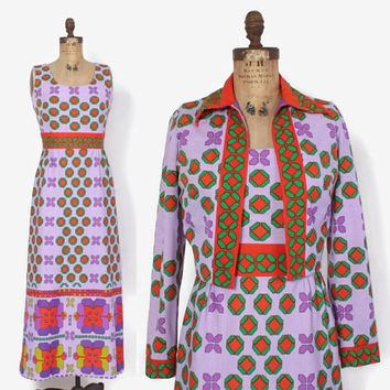 Vintage 60s Tori Richard DRESS Set / 1960s - 70s Bright Psychedelic Maxi Sun Dress & Jacket M