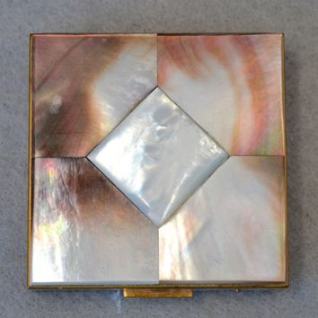 Mother Of Pearl Mirrored Compact Vintage