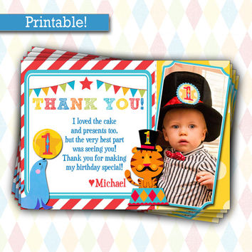 Fisher Price Circus Birthday | 1st Birthday Carnival Party Ticket, Printable, Picture Thank You Card