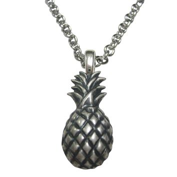 Silver Toned Detailed Pineapple Fruit Necklace
