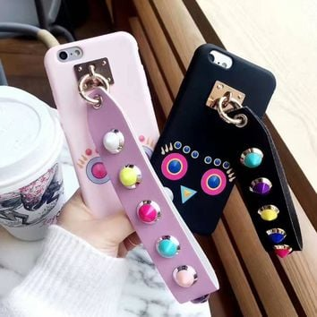 Korean Style Rivet Owl Case with Wrist Lanyard for iPhone 8 7 7plus 6 6s 6plus Soft TPU Back Case Funda Cover