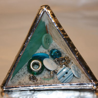 Stained Glass Paper Weight - Turquoise Blue Pyramid