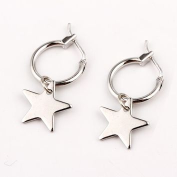 European Endless Circle Hoop Earrings Handmade Silver Gold Color Simple Star Earring For Women Men Chic Bijoux Jewelry Charms