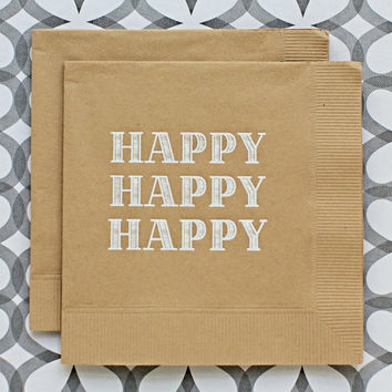 Happy Kraft Beverage Napkin